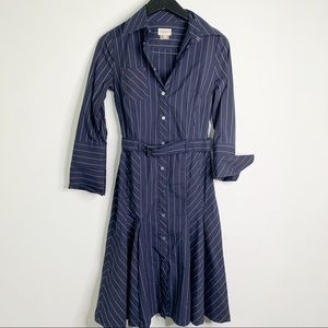 Karen Millen Blue Striped Button Up Shirt Dress